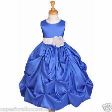 ROYAL BLUE FLOWER GIRL DRESS TAFFETA BRIDESMAID HOLIDAY SMALL LARGE 2 3 4 6 8 10