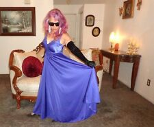 VTG SZ M/L Purple Full Sweep Olga Nightgown Feminine Lingerie Negligee Gown