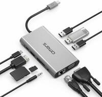 USB C Hub Adapter Omars 10 in 1 Type C Docking Station with USB C Power Delivery