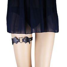 Allacki 2PCs Gothic PU Thigh Elastic Leg Belt Halloween Access Garter Belt