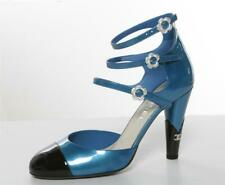 CHANEL Triple Strap Camelia Patent Blue Black Cap-Toe High Heel Pump Mary Jane 9