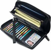 Women RFID Blocking Wallet Leather Zip Around Phone Clutch Large Travel Wristle