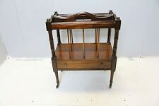 Antique English Regency style  mahogany magazine stand with drawer brass wheels