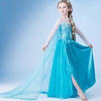 New-Grils-Frozen Princess Queen Elsa Anna Cosplay Costume Party Fancy Dress 2-9Y