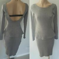 Witchery size 6 grey stretch peplum dress. Long sleeves Low back. Excellent con.