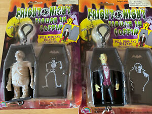 Vintage KO Skeleton and Vampire in Coffin 2001 Agglo MoC Keychain Fright Night