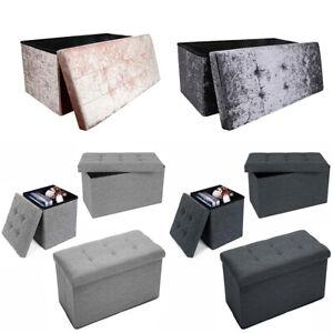 Large Folding Storage Ottoman Pouffe Seat Foot Stool Storage Boxes Grey New UK