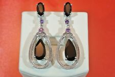 THAI BLACK SPINEL & AMETHYST PLATINUM OVER 925 S.S DANGLE EARRINGS TGW 11.43 cts