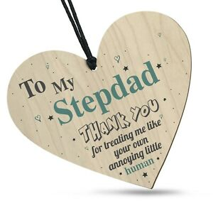 Fathers Day Funny Thank You Stepdad Wooden Heart Plaque Gift Dad Daddy Step Dad