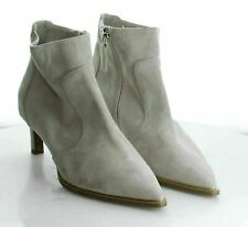 06-59 Women's Size 8.5 Aquatalia Off-White Suede Pointed Toe Side Zip Booties