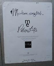 "Modern English Pillow Lips Printer's Proof Ad Piece for Boston Rock  14x17"""