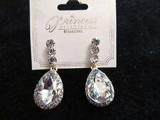 Tone Rhinestone Crystal Fashion Chic Nwt Princess Dangle Statement Earrings Gold