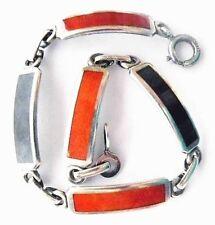 Vintage WEH Sterling Orange - Red & Black Enamel Bracelet ~Walter E Hayward Fine