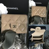 NWT CHANEL Beige Caviar O-COIN HOLDER Flap Card Case BACK POCKET 2018 18B Taupe