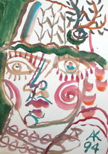 ABSTRACT EXPRESSIONIST ART WOMAN PORTRAIT WATERCOLORS PAINTING, SIGNED