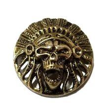Screaming Chief skull concho snap Gothic biker solid belt wallet screw brass