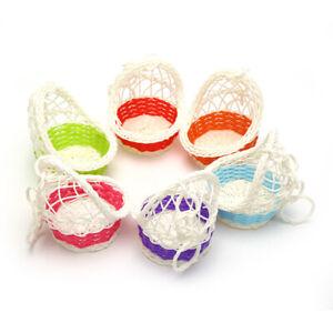 Hand-woven Artificial Flower Basket Rattan Garden Patio Small Object StorageBBI