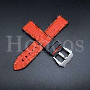 24mm ORANGE Soft Canvas Vulcanized Rubber Watch Strap For a Panerai 44mm Luminor