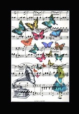 ART PRINT ANTIQUE Sheet Music UPCYCLED  Gramophone Butterflies  Unique ALICE