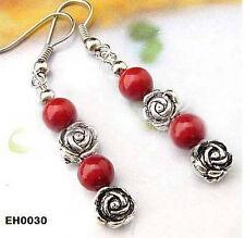 SVENDITA! corallo rosso orecchini argento tibetani, Quick regalo di compleanno