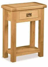 Rustic Oak Telephone Table Plant Stand + Drawer Zelah Oak Solid Wood Furniture