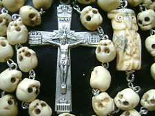 VINTAGE OWL TIBET OXEN BONE SKULL BEADS CATHOLIC ROSARY NECKLACE CROSS CRUCIFIX