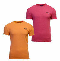 Superdry Mens New Orange Label Vintage Embroidered T Shirt Summer Yellow Red