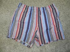 Lands End Swim Trunks Mens Size XXL 44-46 Striped Multi-Color Mesh Lining NWT