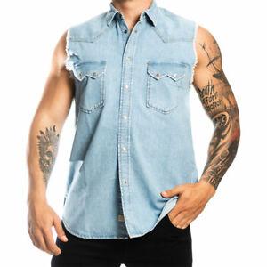 DIESEL D-KIRU Mens Shirt Denim Regular Fit Casual Sleeveless Western Style Shirt