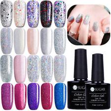 7.5ml Glitter Soak Off UV Gel Polish Nail Art Silver Pink Sequins Gel UR SUGAR