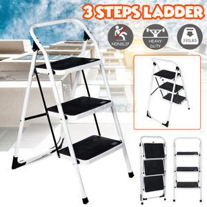 3 Step Ladder Folding Steel Step Stool Anti-slip Safe Home 330lbs Capacity