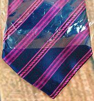Kailong Men's Handmade Tie 100% Silk Navy Blue With Pink Stripe New in Packaging