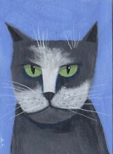 ACEO Gray and White Cat Original Painting Whimsical Outsider Folk Art  SFStudio