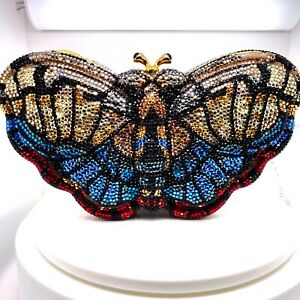 Judith Leiber Butterfly Evening Clutch Bag Semi Precious Multicolor Gems Jewel
