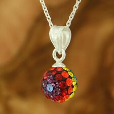 "Ball Multi Color Crystal Pendant 925 Sterling Silver 20"" Cable Chain Necklace"