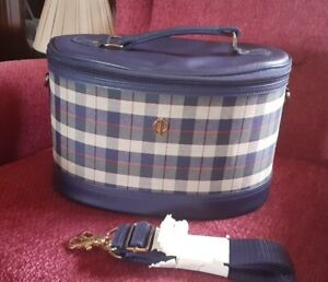 Classic Navy & Check Oval Vanity Case With Detachable Shoulder Strap. NWOT.