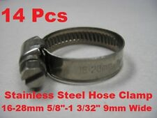 """14 Pcs Stainless Steel Hose Clamp 16-28mm ( 5/8""""-1 3/32"""" ) 9mm Wide 16 to 28mm"""