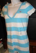 Hollister Womens M Turquoise White V-neck T-shirt 100% Cotton NEW Long Tee