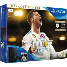 SONY PLAYSTATION 4 PS4 SLIM CONSOLE FIFA 18 RONALDO EDITION 1TB JET BLACK NEW