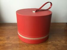 Vtg Wig Case Red Vinyl Carry Hat Head Euc Travel Box Round