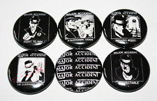 """MAJOR ACCIDENT 1"""" BUTTON LOT OF 6 badges punk oxymoron blitz 4 skins oppressed"""