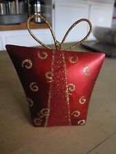 RED CHRISTMAS PACKAGE Gold GLITTER BOW METAL CHRISTMAS ORNAMENT