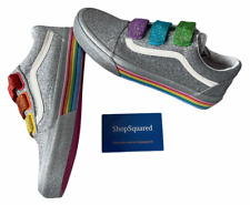 Vans x Flour Shop (Old Skool V) Silver Pride Glitter Womens Sz 7.5 Shoes NIB🌈