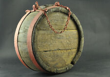 ANTIQUE 1800s WOODEN HORSE WAGON VESSEL KEG WATER CANTEEN IRON BANDED RUSTIC