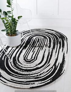 Braided Handmade Oval Area Rug Carpet Tapis Multi Cotton Rag Handwoven Rug Decor