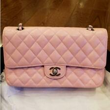 Chanel Classic Medium Double Flap Shoulder Bag Pink Caviar Silver Hardware 9 ser