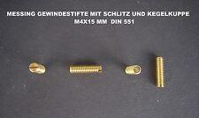 20 X MESSING GEWINDESTIFTE MADENSCHRAUBEN M4X15MM DIN 551 MIT SCHLITZ & KEGELKU.