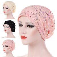 Muslim Women Lace Headwear Full Wrap Hijab Stretch Turban Cancer Hat Chemo Cap