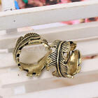 2pcs Charming Vintage Retro Bronze Alloy Feather Leaves Pattern Ring Charms