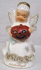 Vintage October Angel Figurine Holds Evil Jol Spaghetti Trim 1950s Japan # 1194